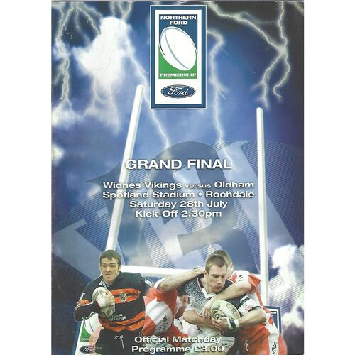 2001 Widnes Vikings v Oldham Northern Ford Premiership Grand Final Rugby League Programme