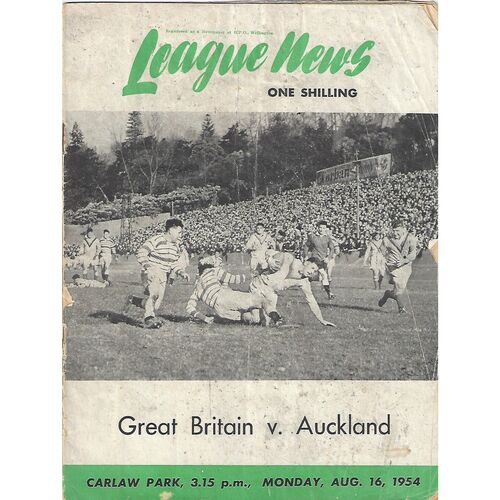 1954 Great Britain v Auckland Tour Match Rugby League Programme