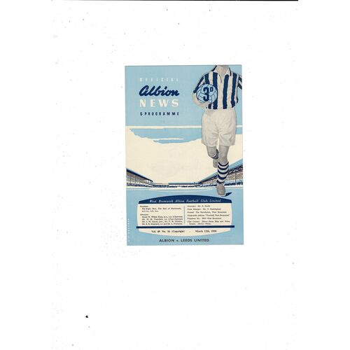 1957/58 West Bromwich Albion v Leeds United Football Programme