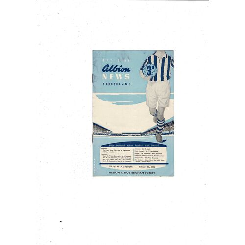 1957/58 West Bromwich Albion v Nottingham Forest Football Programme