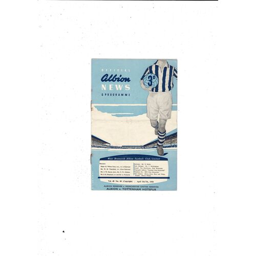 1957/58 West Bromwich Albion v Tottenham Hotspur + Manchester United Res Football Programme