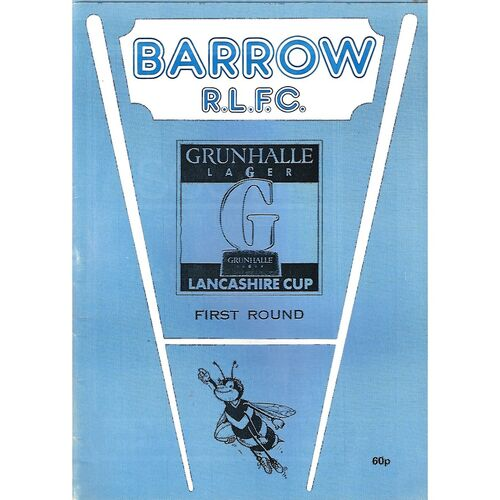 1989/90 Barrow v Oldham Lancashire Cup 1st Round Rugby League Programme