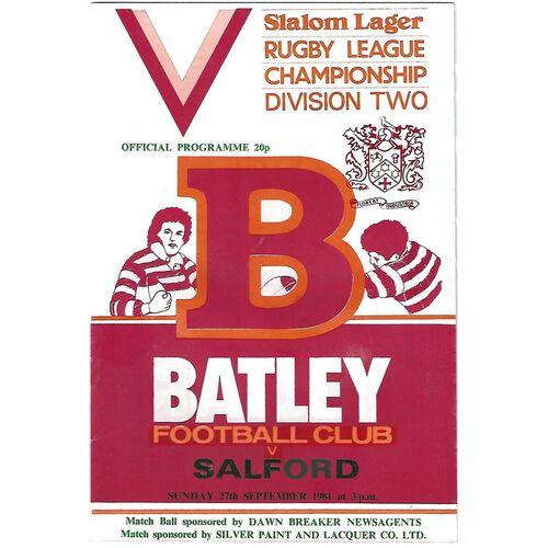 1981/82 Batley v Salford Rugby League programme