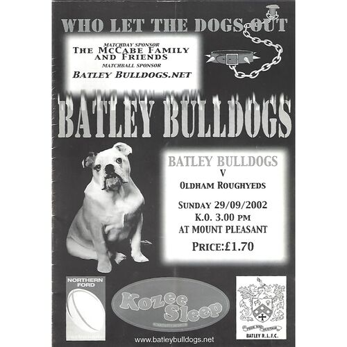 2002 Batley Bulldogs v Oldham Roughyeds Rugby League Programme