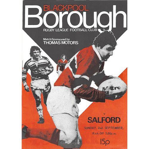 1979/80 Blackpool Borough v Salford Rugby League Programme