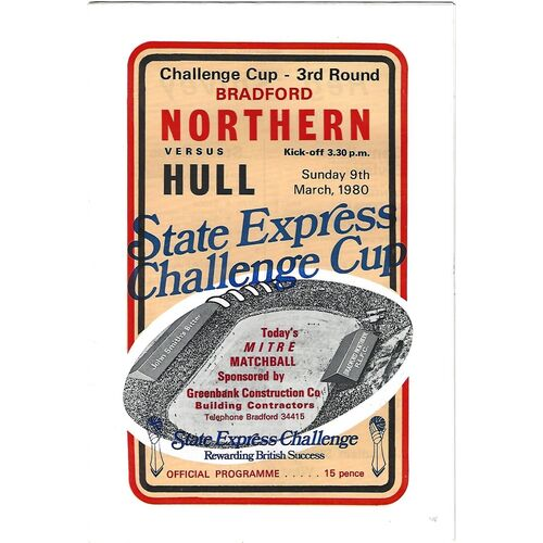 1979/80 Bradford Northern v Hull State Express Challenge Cup 3rd Round Rugby League Programme
