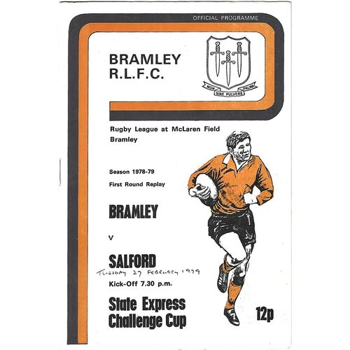 1978/79 Bramley v Salford State Express Challenge Cup 1st Round Replay Rugby League Programme