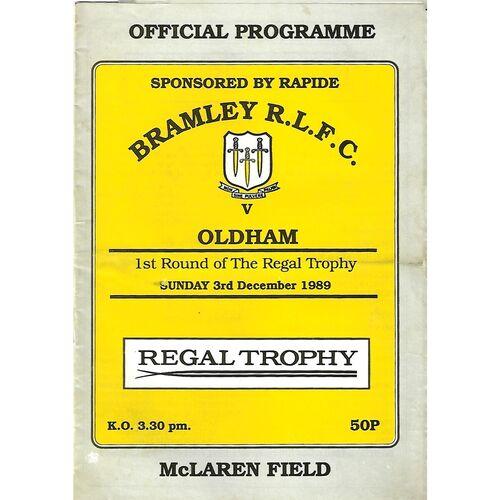1989/90 Bramley v Oldham Regal Trophy 1st Round Rugby League Programme