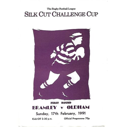 1990/91 Bramley v Oldham Silk Cut Challenge Cup 1st Round Rugby League Programme