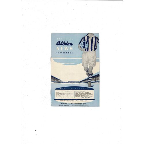 1958/59 West Bromwich Albion v Manchester City Football Programme