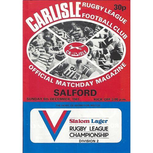1981/82 Carlisle v Salford Rugby League programme
