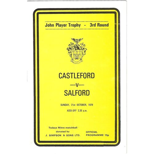 1979/80 Castleford v Salford John Player Trophy 3rd Round Rugby League Programme