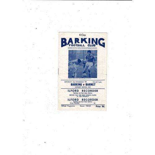 1963/64 Barking v Barnet London Senior Cup Football Programme