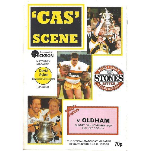 1990/91 Castleford v Oldham Rugby League Programme
