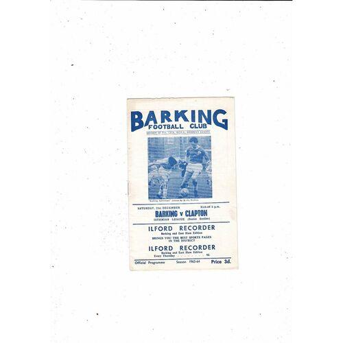 1963/64 Barking v Clapton Football Programme