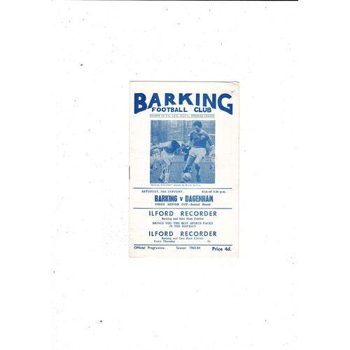1963/64 Barking v Dagenham Essex Senior Cup Football Programme