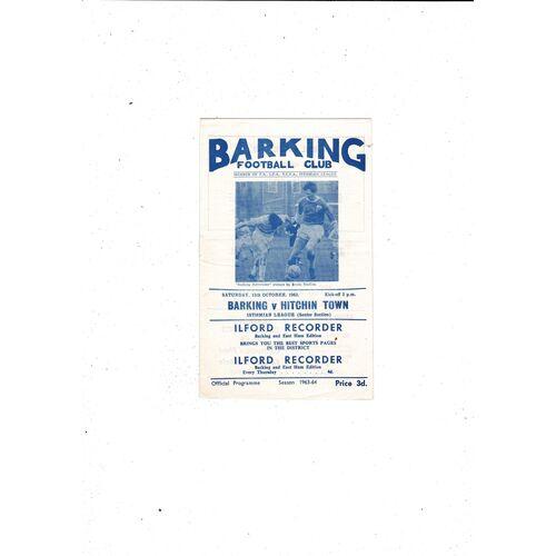 1963/64 Barking v Hitchin Town Football Programme