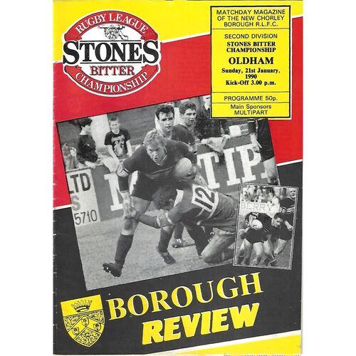 1989/90 Chorley Borough v Oldham Rugby League Programme