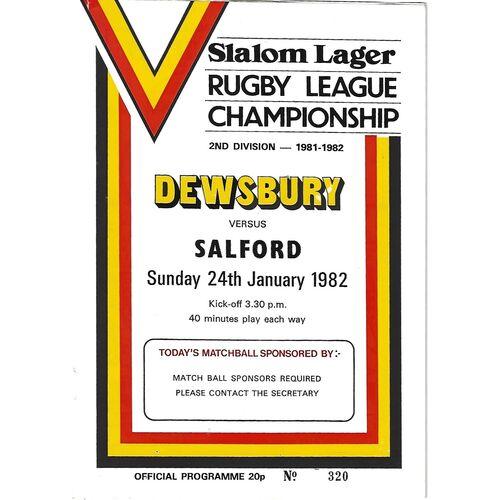 1981/82 Dewsbury v Salford Rugby League programme