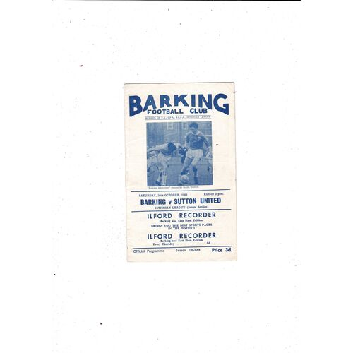 1963/64 Barking v Sutton United Football Programme