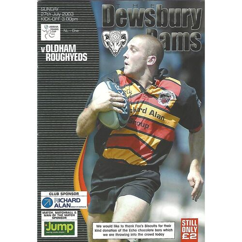 2003 Dewsbury Rams v Oldham Roughyeds Rugby League Programme