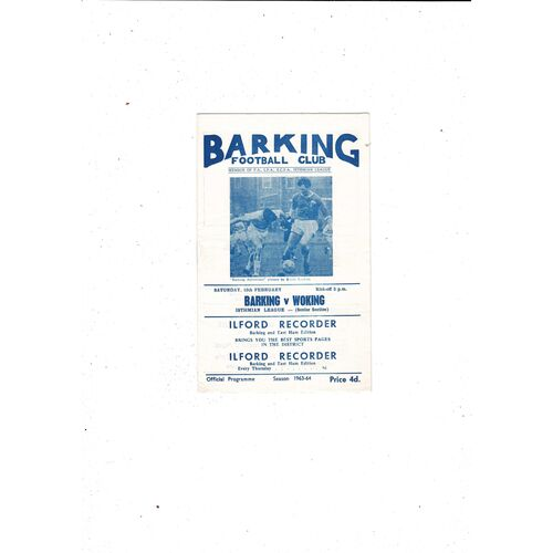 1963/64 Barking v Woking Football Programme