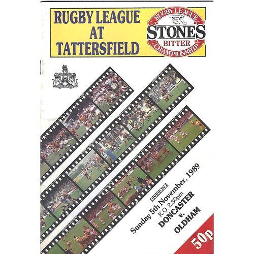 1989/90 Doncaster v Oldham Rugby League Programme