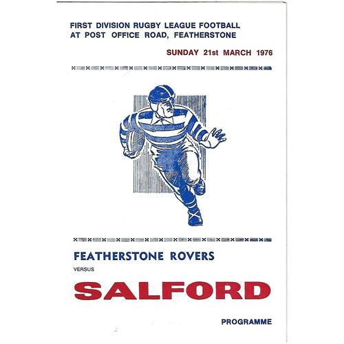 1975/76 Featherstone Rovers v Salford Rugby League Programme