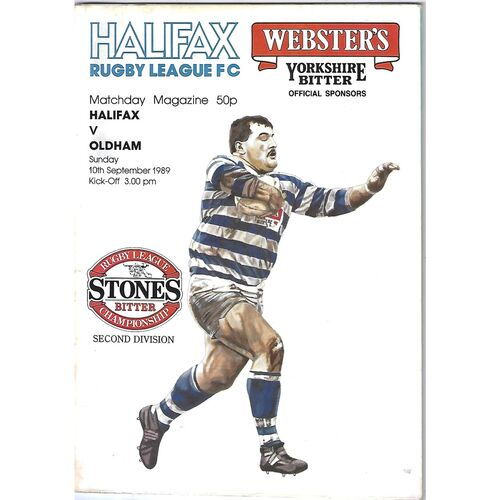 1989/90 Halifax v Oldham Rugby League Programme