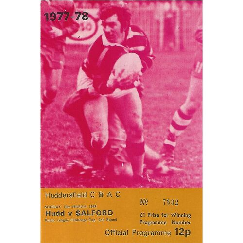 1977/78 Huddersfield v Salford Challenge Cup 2nd Round Rugby League Programme