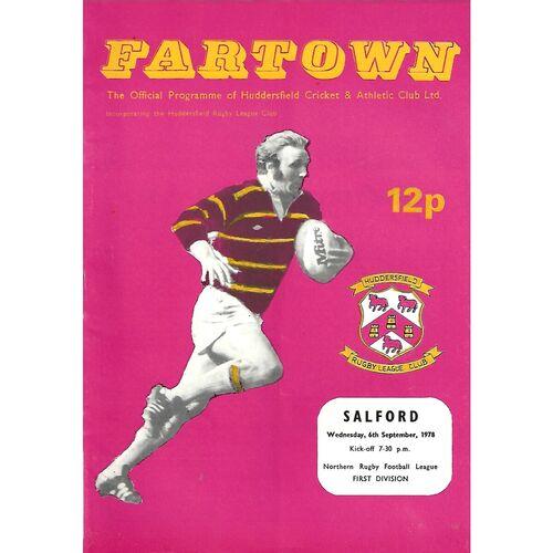 1978/79 Huddersfield v Salford Rugby League Programme