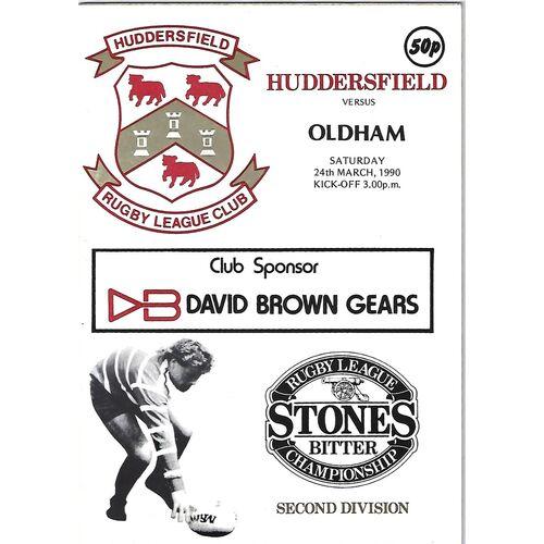 1989/90 Huddersfield v Oldham Rugby League Programme