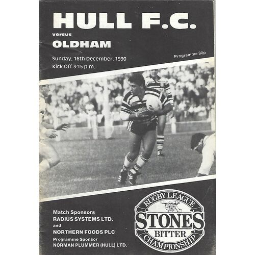 1990/91 Hull v Oldham Rugby League Programme