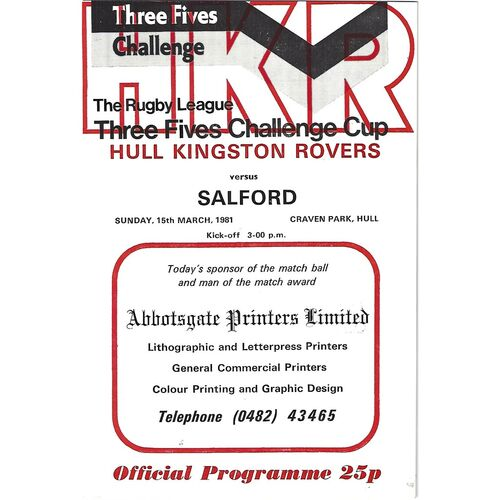 1980/81 Hull Kingston Rovers v Salford Three Fives Challenge Cup Rugby League Programme