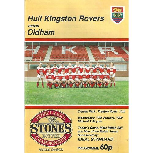 1989/90 Hull Kingston Rovers v Oldham Rugby League Programme