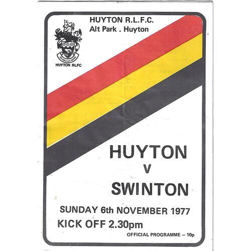 1977/78 Huyton v Swinton Rugby League Programme