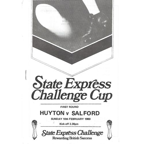 1979/80 Huyton v Salford State Express Challenge Cup 1st Round Rugby League Programme