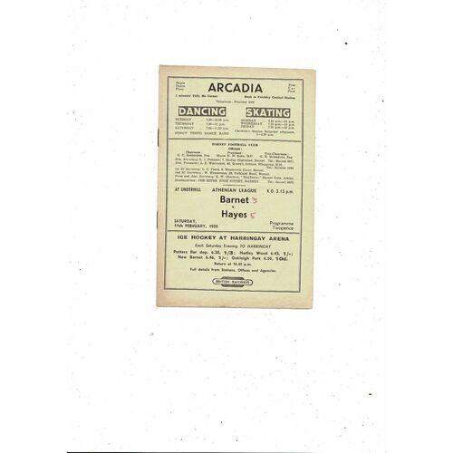 1949/50 Barnet v Hayes Football Programme