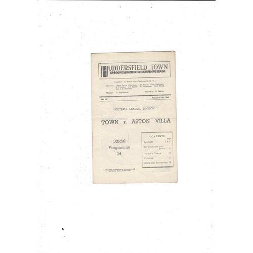 1947/48 Huddersfield Town v Aston Villa Football Programme