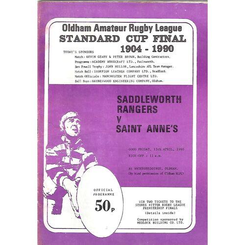1990 Saddleworth Rangers v St. Anne's Standard Cup Final Rugby League Programme