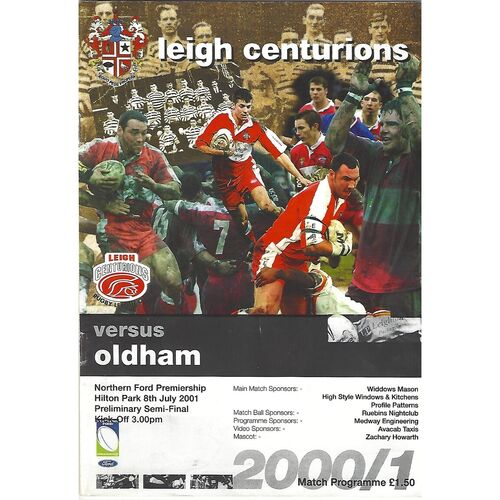 2001 Leigh Centurions v Oldham Northern Ford Premiership Preliminary Semi Final Rugby League Programme