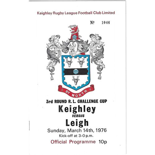1975/76 Keighley v Leigh Rugby League Challenge Cup 3rd Round Rugby League Programme