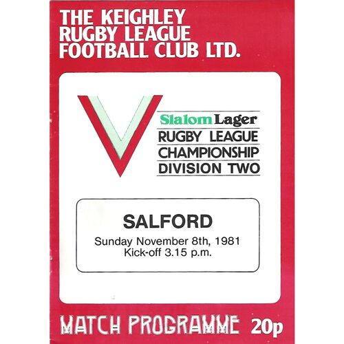 1981/82 Keighley v Salford Rugby League Programme
