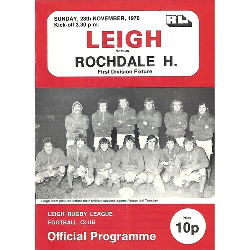 1976/77 Leigh v Rochdale Hornets Rugby League  Programme