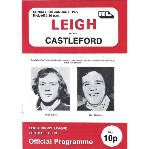 1976/77 Leigh v Castleford Rugby League  Programme