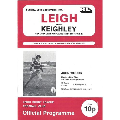 1976/77 Leigh v Keighley Rugby League  Programme