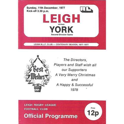 1977/78 Leigh v York Rugby League  Programme