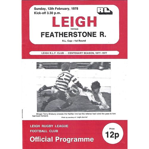 1977/78 Leigh v Featherstone Rovers Rugby League Challenge Cup 1st Round Rugby League  Programme