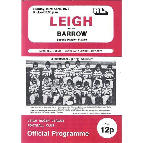 1977/78 Leigh v Barrow Rugby League  Programme
