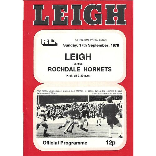 1978/79 Leigh v Rochdale Hornets Rugby League  Programme